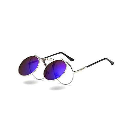 Sport-Sonnenbrillen, Vintage Sonnenbrillen, NEW Metal Steampunk Sunglasses Women Men Retro Fashion Round Shade Clamshell Glasses Male Female Driving Eyewear Gift 06