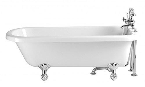 Casa Padrino Jugendstil Badewanne freistehend Weiß Modell He-per 1660mm - Freistehende Retro Antik...