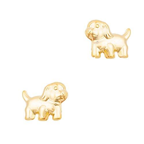 ASS 333 Gold Kinder Mädchen Ohrringe Ohrstecker kleiner Hund Welpe matt