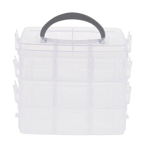 Baosity Grande Boîte de Rangement en Plastique à Multifonctions - Approprié pour l'Ongle, le Maquillage, l'Artisanat, les Produits et les Outils de Pêche ou la Pillule - Clair