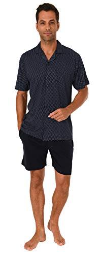 Herren Shorty Pyjama Schlafanzug Kurzarm zum durchknöpfen - auch in Übergrössen bis Gr. 70-191 105 90 519, Farbe:Marine, Größe2:66
