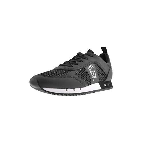 EMPORIO ARMANI EA7 Laces U Zapatillas Moda Hombres Negro - 46 - Zapatillas Bajas