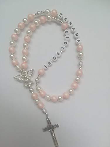 Rosenkranz mit Namen und Datum Taufe geschenk,Kommunion Geschenk,Konfirmation