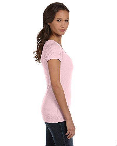 Bella + Canvas Damen-Burnout Kurzarm V-Ausschnitt T-Shirt Zartrosa