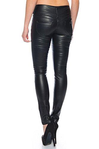 BENK Damen Leder Optik Hose Legging Leggins Wetlook Lack Jeans Jegging (Schwarz, 36)