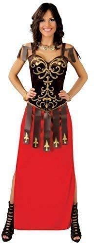 Römisch Maxi historisch Griechische Toga Krieger Gladiator Velvet Kostüm Kleid Outfit 14-18 - Rot, UK 14-18 ()