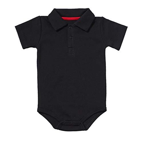 0-24M Neugeborene Babykleidung,Kleinkind Jungen Kurzarm Gentleman Kleidung Baby Sommer Outfit Baby Schlafanzug(Schwarz,12-18 Monate)