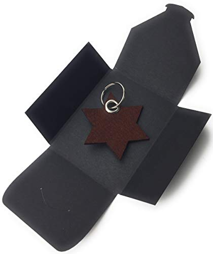 filzschneider Schlüsselanhänger aus Filz - 6eck-Stern - dunkel-braun/nuss-braun - als besonderes Geschenk mit Öse und Schlüsselring - Made-in-Germany