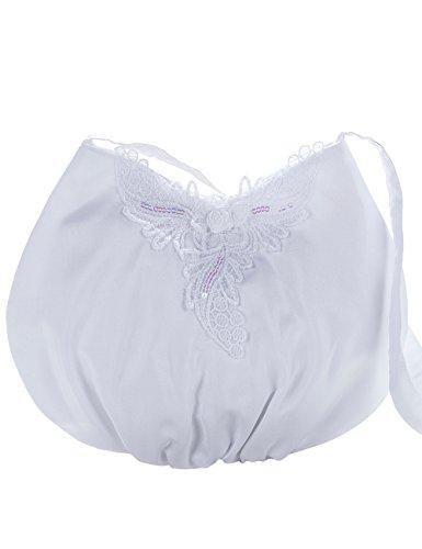 Princess Taufkleid Brauttasche aus Satin Weiß/Bommel