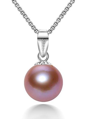 SHUSHAN Kette Damen Halskette 925 Sterling Silber Rund Anhänger 4A+ 7,5-8,0mm Mehrfarbig Perlen Schmuck 45CM Kettenlänge Geschenk Damen Geburtstagsgeschenk geschenke für frauen