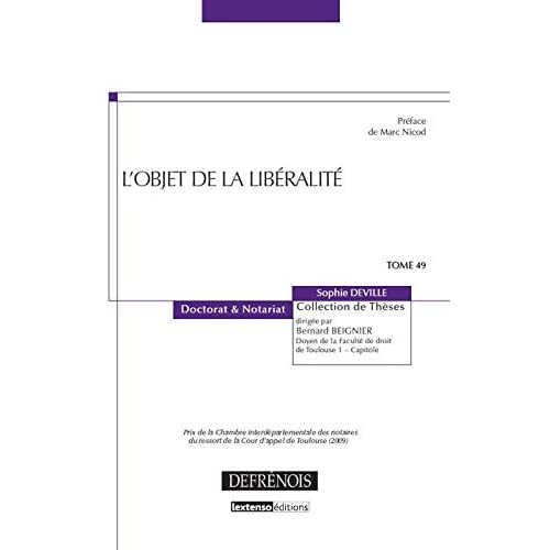 L'objet de la libéralité - tome 49