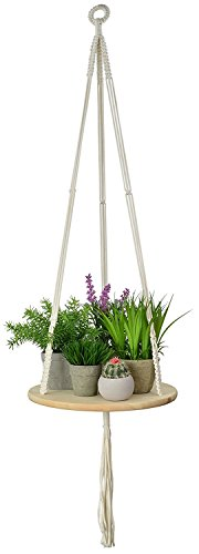 Lulalula fioriere in legno massello appeso mensola, macrame plant hanger – 114,3 cm amaca corda galleggiante mensole cestini per piante indoor/outdoor home decor portavaso, white, rotondo