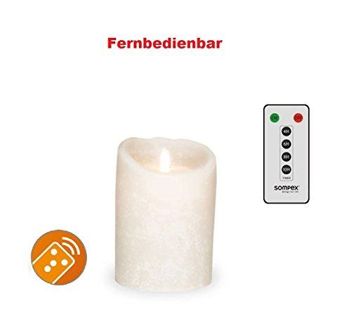 Sompex 35740Flame–Vela LED blanco Frost (Frosted Blanco/Blanco Escarchado) 8x 12,5cm, con mando a distancia. Bundle Incluye mando a distancia.