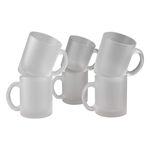 Werbewas 6er Set satinierte Kaffee-Tassen ohne Druck transparent weiß im Frosted Look, Elegante Milch-Glas Becher für Büro und Haushalt, 300ml-Tasse Tee-Pott (Kaffee-tasse Ohne Griff)