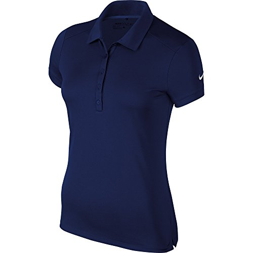 NIKE Damen Polo Hemd Victory Solid, College Navy/White, S, 725582-419 (Golf Polo Pique Solid Shirt)
