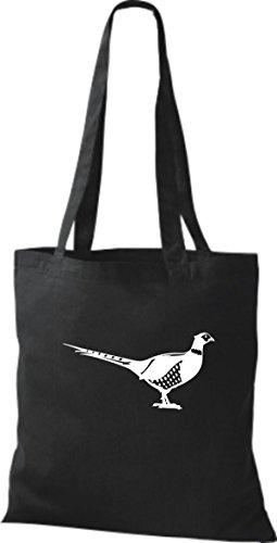 Shirtstown Stoffbeutel Tiere Fasan, Vogel Schwarz