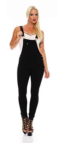 5354 Fashion4Young Damen Latzhose Röhrenhose pants Hose mit Trägern schwarz Damenhose Gr. 34-42 (S = 36, Schwarz)