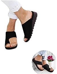 99native Sandales Plates Femmes-2019 New Women Sandal Shoes Comfy Platform Sandal Shoes Summer Beach Travel Shoes Semi Trailer Sandals Chaussures Sandale Femme (Noir, 39)