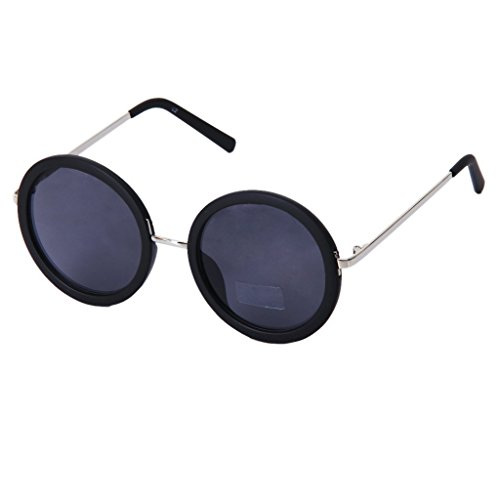 TOOGOO(R) Retro Moda Gafas de sol redondas gafas (Negro)