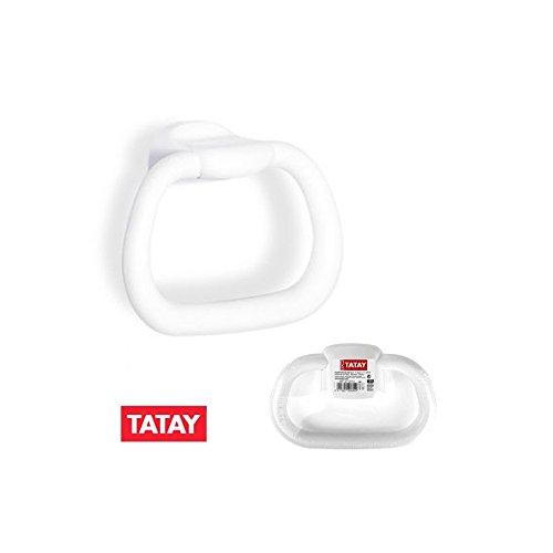 Tatay RTT toallero de Anilla, tamaño pequeño, Polipropileno, Color Blanco, 20,5x 6,3x 14cm