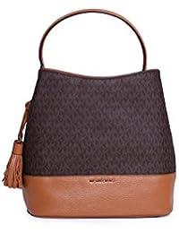 Michael Kors Kip Large Monogrammed Canvas Bucket Handbag (Brown)