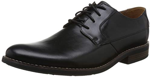 Clarks Herren Becken Plain Derbys, Schwarz (Black Leather), 45 EU