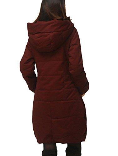 MatchLife Damen Zipper Jacket Hoodie Winter Warm Mantel Style3-Wein