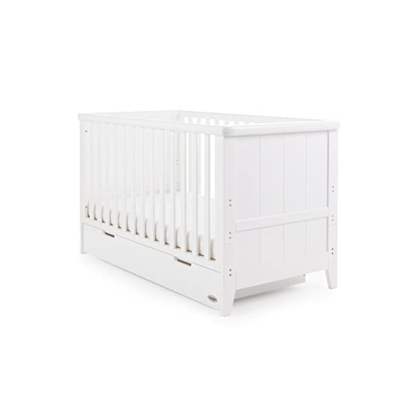 Obaby Belton Cot Bed, White Obaby Adjustable 3 position mattress height Bed ends split to transforms into toddler bed Includes matching under drawer for storage 1