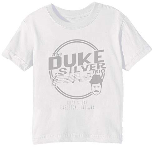 Duke Silver Trio - Parks and Recreation Kinder Unisex Jungen Mädchen T-Shirt Rundhals Weiß Kurzarm Größe 2XS Kids Boys Girls White XX-Small Size 2XS