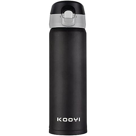 Kooyi taza viaje acero inoxidable 450 ml, Termo de viaje BPA-free, 100% a prueba de fugas (negro)