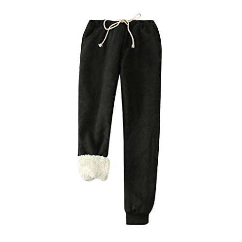 Artistic9 Frauen Fleece Jogger Jogginghose Kordeln Fuzzy Plüsch gefüttert elastische Taille Pyjamas Bottom Loose Tapered Pant Winter warme Lange Hosen