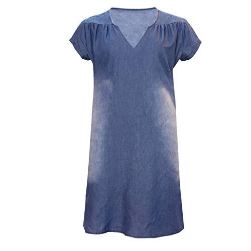 Bellelove Sommerkleid Leinen Kleider Damen V-Ausschnitt Strandkleider Einfarbig A-Linie Kleid Knielang Kleid