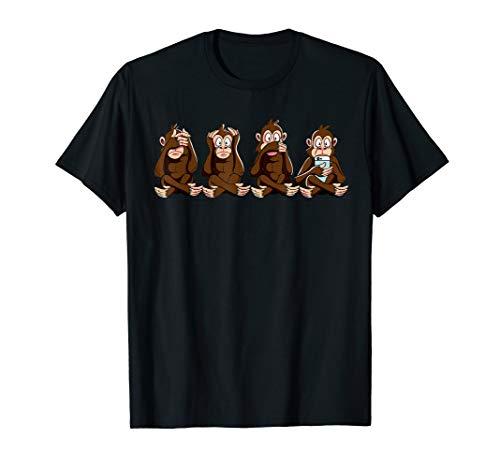 3+1 Affen Shirt nichts sehen, hören sagen + Smartphone  -