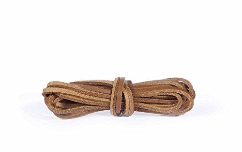 Kaps Cordones de cuero, cordones de zapatos de cuero 100% real calidad, hechos en Europa, 1 par, varios colores y longitudes (120 cm - 6 a 8 pares de ojales/36 - natural)