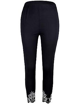 Mujer Pantalones Deporte Leggings Adelgazante Gym con Malla Pantalone Elásticos Malla Fitness Negro M