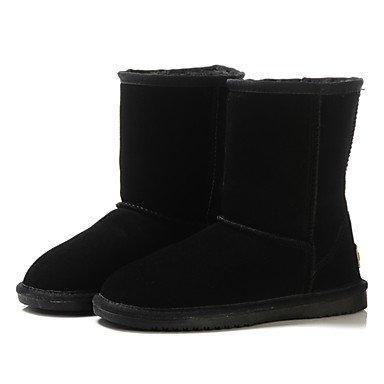 SANMULYH Scarpe Donna Comfort Winter Snow Boots Stivali Tacco Piatto Round Toe Punta Chiusa Per Abbigliamento Casual Camel Caffè Nero Grigio Nero