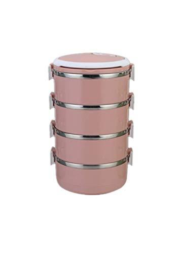 chaungying Lunch-Boxen,Bento Boxen Mehrlagige Versiegelte Isolation Edelstahl Rund Rosa - Erwachsenen-lunch-box Rosa