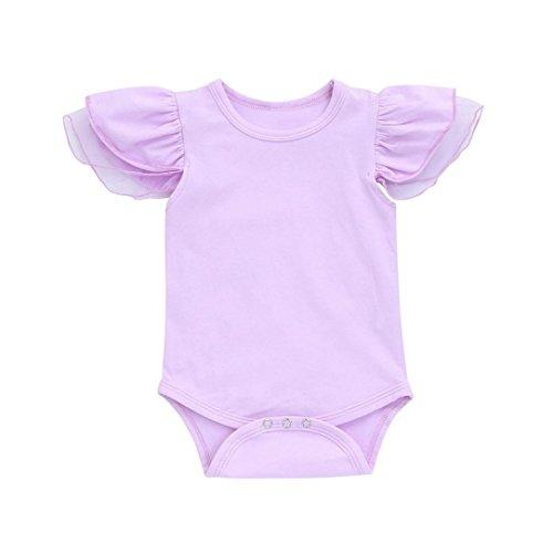 (Kinderbekleidung,Neueste Modell Neugeborenes Baby Mädchen Kleider Bowknot Spitze Prinzessin Spielanzug Overall Body Outfits Streetwear Blusen hautfreundlicher Baumwolle (3-6M/70, Violett-ByE))