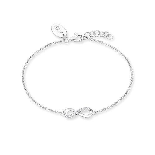 s.Oliver Damen-Armband mit Infinity/Unendlichkeitszeichen-Anhänger 925 Sterling-Silber, längenverstellbar (17+2 cm)