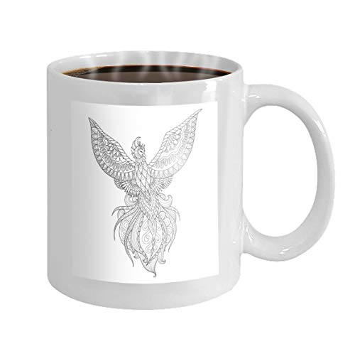 11 oz Coffee Mug zendoodle design phoenix bird design adult coloring book page other design element stock Novelty Ceramic Gifts Tea Cup