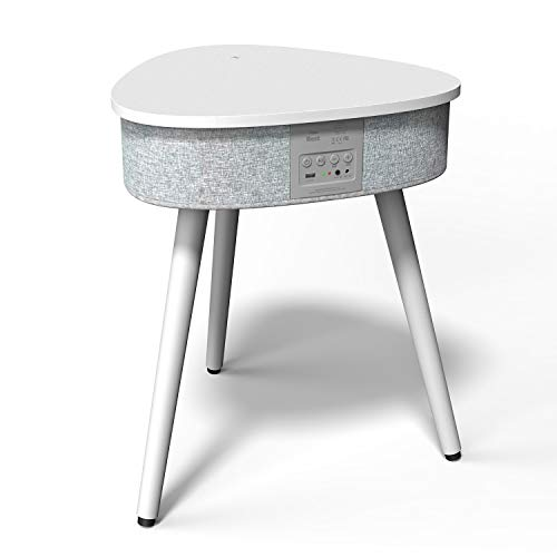 Table Basse Portable avec Enceinte Bluetooth, Chargeur Induction sans Fil et Port de Charge USB