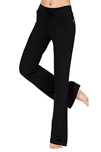 reine à la mode- Yoga Pantalons de Femme de Minceur Foldover Bootleg Flare (M, noir)