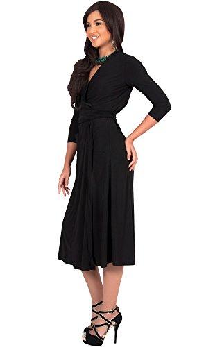 KOH KOH® Da Donna Mini abito elegante da damigella da sera all'altezza del ginocchio con scollo a V Midi abito Nero