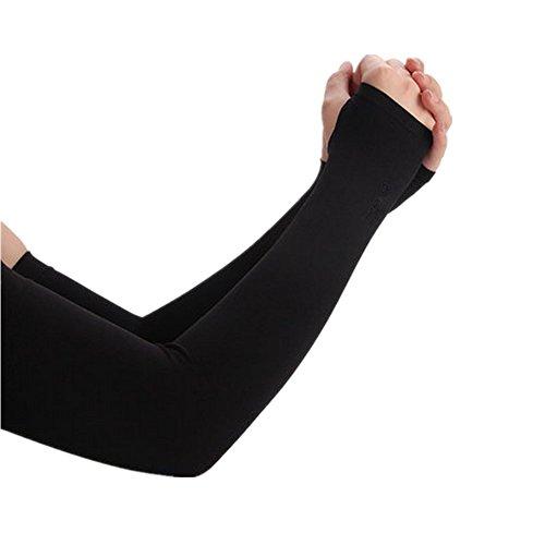 Sherry Anti UV Protection Manchettes Bras - Manchons Compression de Sport avec Trou de Pouce, Noir