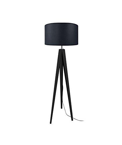 Tosel 51073 Lampadaire, Bois/Tube Acier, Abat-Jour Coton, E27, 40 W, Noir, 50 x 163 cm
