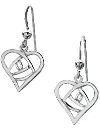 Charles Rennie Mackintosh - Sterling Silver Drop Earrings - Concave Heart Shaped Open ROSE Design - 15mm length