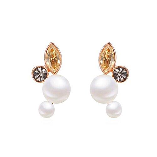 HSNZZPP Frauen-Tropfen-Ohrring-Ohrring-Art- Und Weiseelegante Braut-entzückende Kostüm-Schmucksache-Zircon-nachgemachte Diamant-Legierungs-Schmucksachen,Gold-OneSize