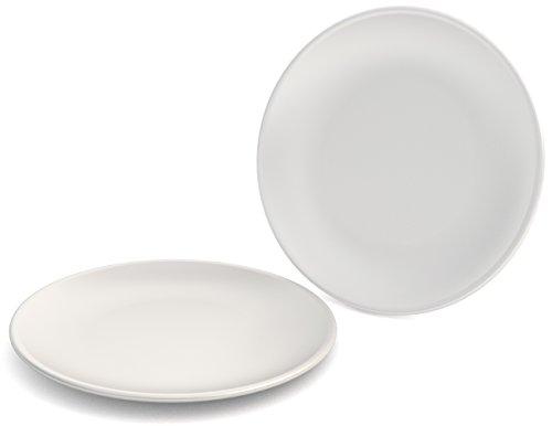 Ornamin Lot de 2 Assiettes Plates Ø 23 cm Blanc Mélamine (modèle 414)