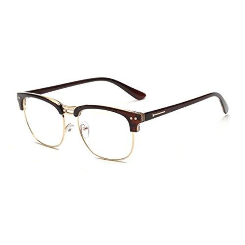 Idyandyans Retro Halbrand Brillen Blau Film Strahlungsgläser freie Objektiv-Brillen Brillen