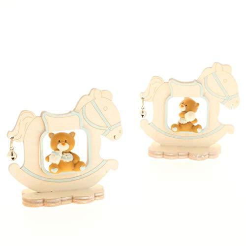 Super offerta 15 pz tom orsetto celeste con cavallo a dondolo bomboniera